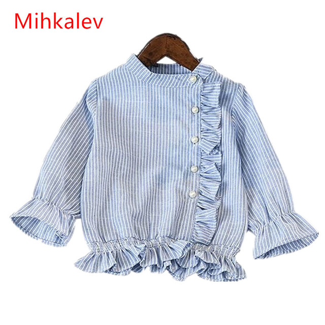 9db4f48ec823d Mihakelv spring baby girl clothes Fashion long sleeve stripe shirt for girls  cotton blouses and tops children school clothing