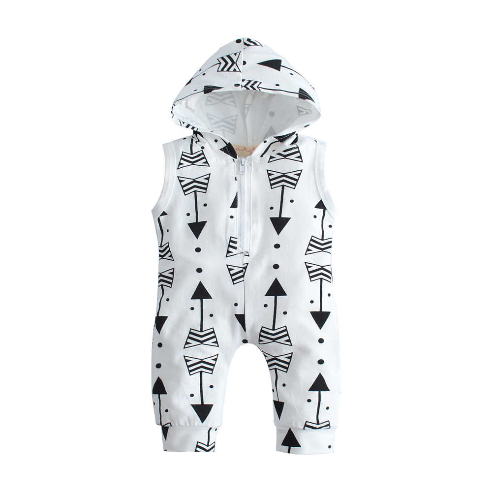 30159950cad66 New 2019 summer baby boy girl Rompers baby clothes newborns Cartoon white  sleeveless hooded toddler Jumpsuit
