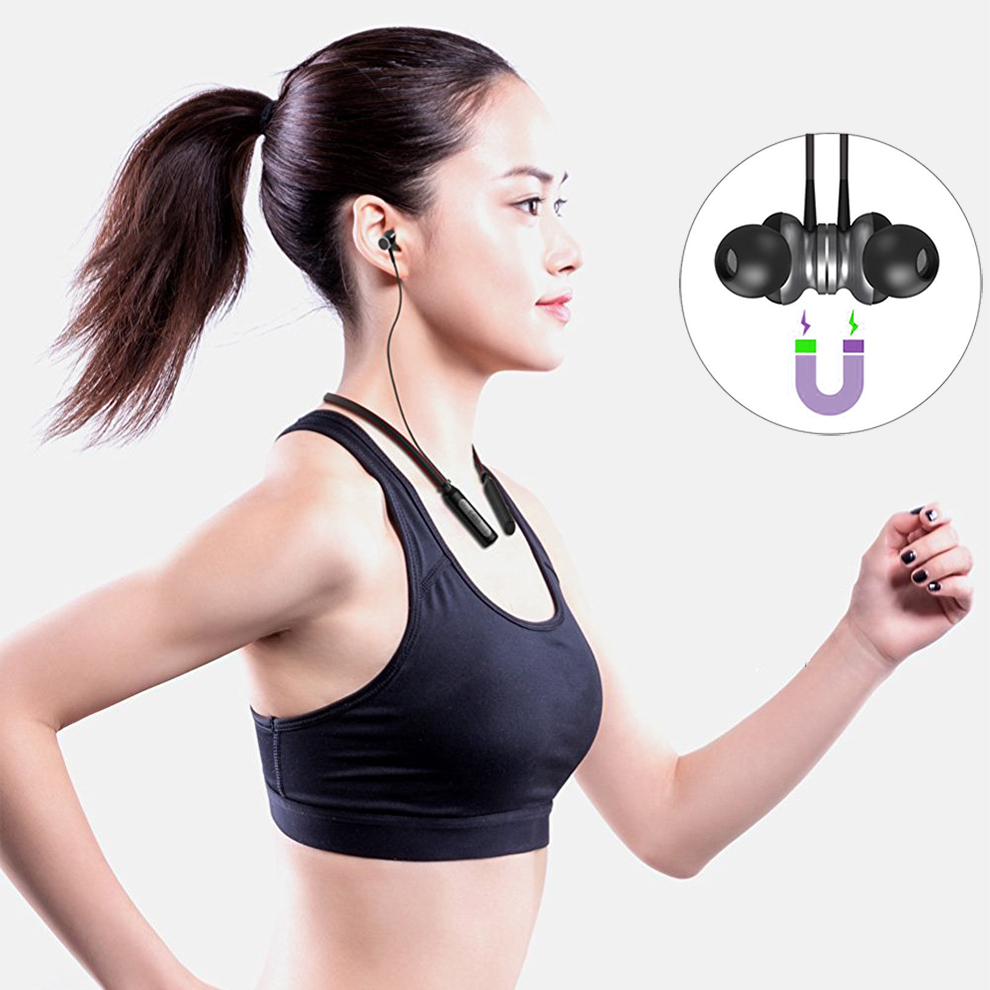 M&C HT1 Neckband Bluetooth Earphone with Mic V 4.1 Wireless Headphone Sport Running Stereo Magnetic Bluetooth Headset Waterproof headset 4 1 wireless bluetooth headphone noise cancelling sport stereo running earphone fone de ouvido for xiaomi iphone huawei