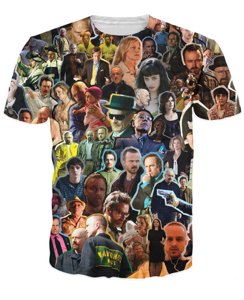 Breaking Bad Collage T-Shirt Jesse Pinkman Walter White Character 3D Printed T Shirt Summer Style Top Tees Plus Size 5XL R2876 image