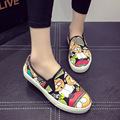 New 2016 Spring Autumn Loafers Women Brand Flat Shoes Casual Canvas Shoes cartoon pattern shoes female shoes