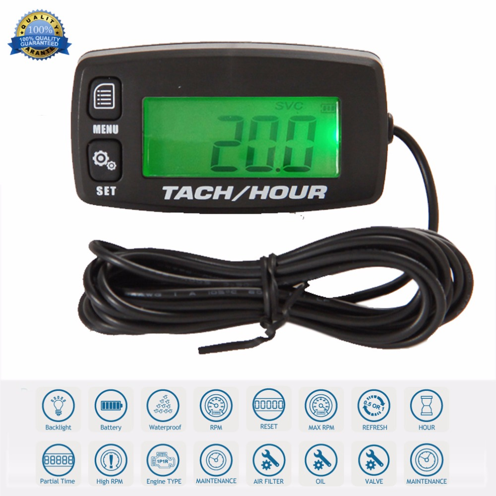Waterproof Digital Resettable Inductive Tacho Hour Meter Tachometer For Motorcycle Marine Boat ATV Snowmobile Generator Mower