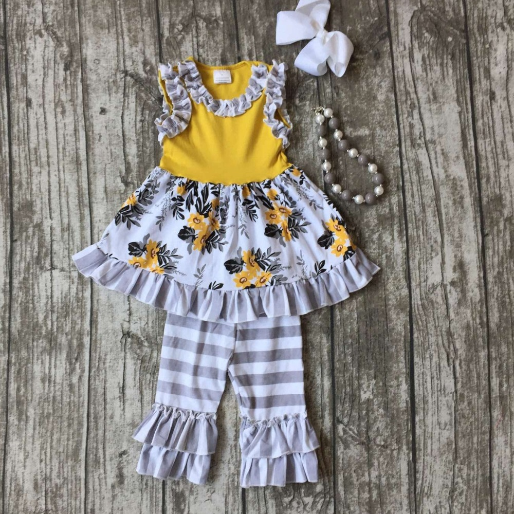 girls Summer outfit baby floral clothes ginger gray cotton striped boutique ruffles clothes bow kids sets matching accessories 2016 summer baby child girls outfits ruffles shorts white striped watermelon boutique ruffles clothes kids matching headband set