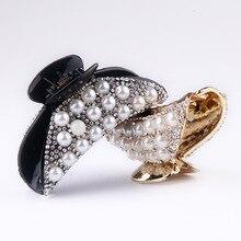 Headwear Ornaments For Hair Accessories Trendy Crab Hairpins Rhinestone Pearls Shiny Luxury Women Clip Girl Claws M30