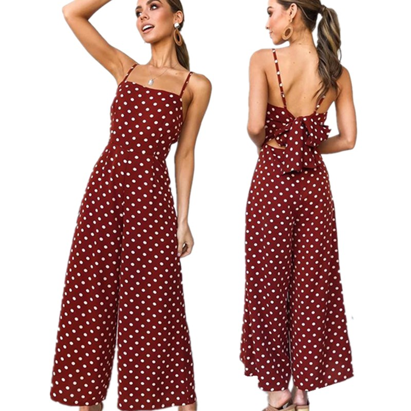 Dot Print Wide Leg Women Strap   Jumpsuits   Sexy Sleeveless Backless Elegant Back Bow Tie   Jumpsuit   Boho Casual Rompers Playsuit new