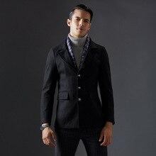 Новая Мода Съемный Шарф Шерсть Зимняя Куртка Мужчин Отказаться Воротник Элегантный Качество Палто Эркек