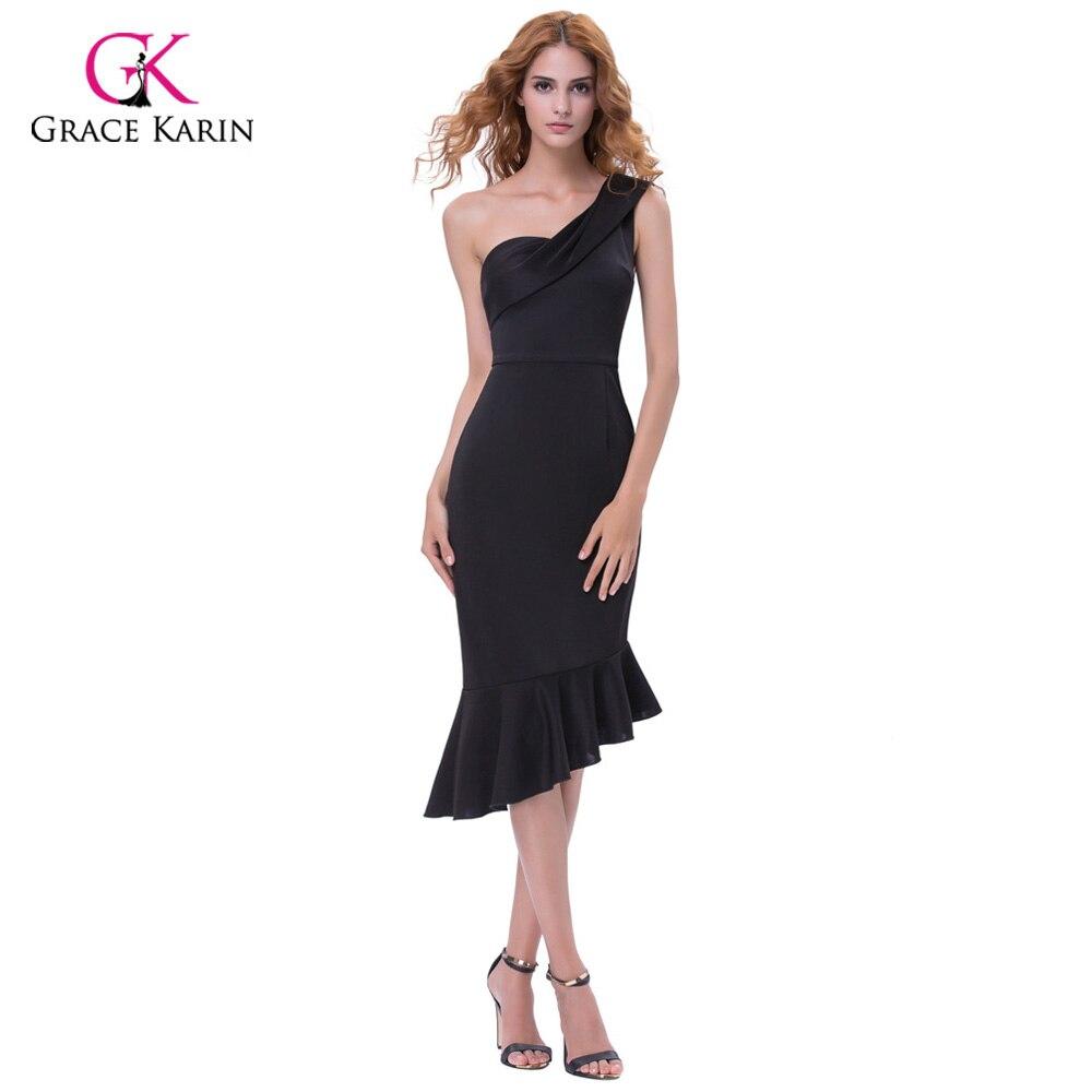 Платья короткие черные на одно плечо