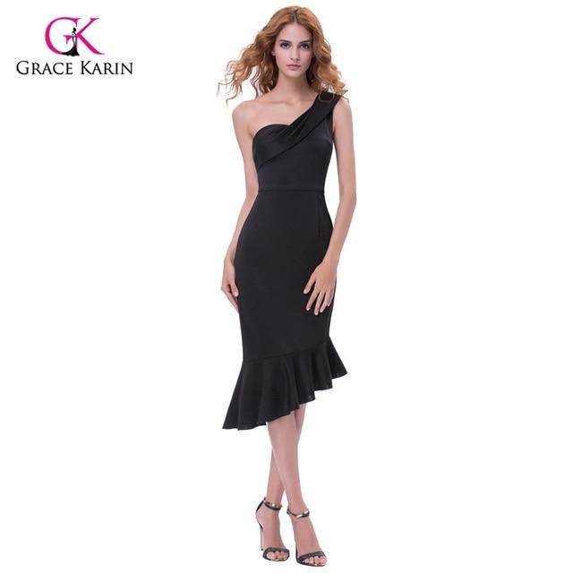 542473f71eb Грейс Карин летние Коктейльные платья короткие черные вечерние стрейч  Bodycon одно плечо знаменитости вечерние партии баски