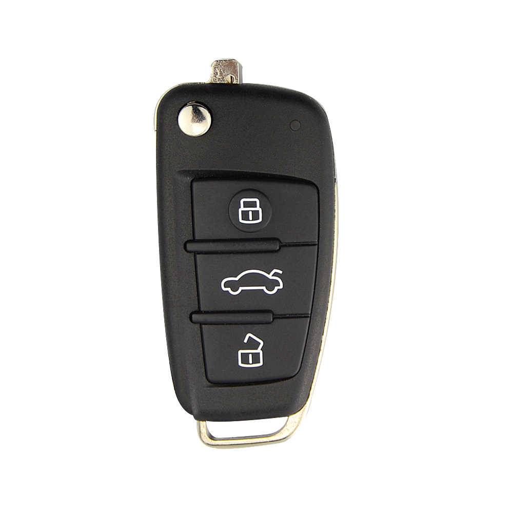 OkeyTech 3 Button Flip Fold Remote Car Key Shell Keyless Entry KD Key Cover Case for Audi A6L Q7 A2 A3 A4 A6 A6L A8 TT No Blade