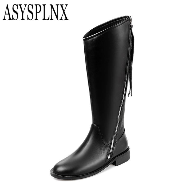 ФОТО ASYSPLNX fashion winter woman boots womens cow genuine leather women round toe square heel shoes thigh high over the knee boots