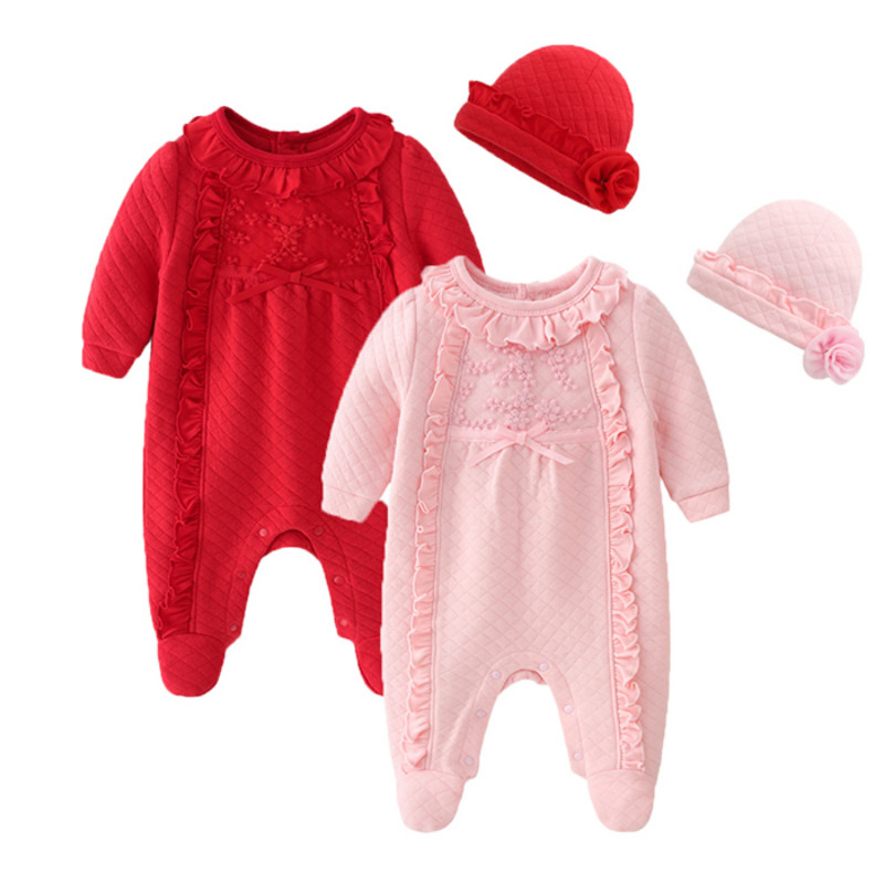 Newborn Baby Girl Clothes 0-3 Months Autumn Cotton Footed Romper Infant Jumpsuit With Hat Warm Costume Baby Outfit Ropa De Bebe