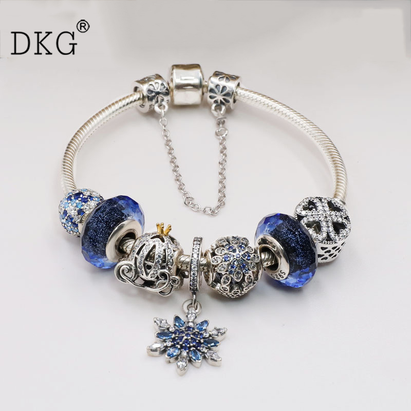 NEW Real 925 Sterling Silver Blue snowflake CZ Fit Original Women Pan Bead Charm Bangle DIY Jewelry 2018 summer silver bead fit original original charm bracelets 925 sterling silver watermelon pineapple apple cz bead diy jewelry