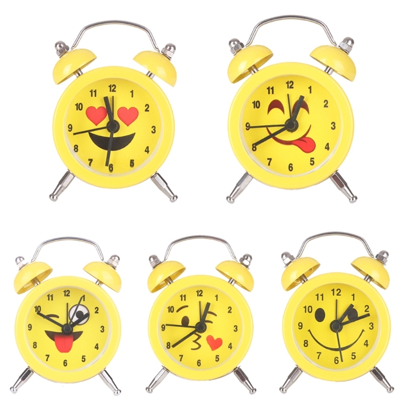 JAVRICK Cute Expression Fashion and Durable Mini Round Battery Alarm Clock Desktop Table Bedside Clock Decor