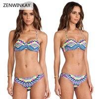 2017 Summer Beach Bathing Suit Women Swim Wear Thong Halter Bikini Push Up Bandeau Bikini Set