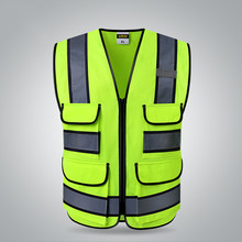 Two tone yellow Safety vests with pockets waistcoat security with reflective stripes(China)