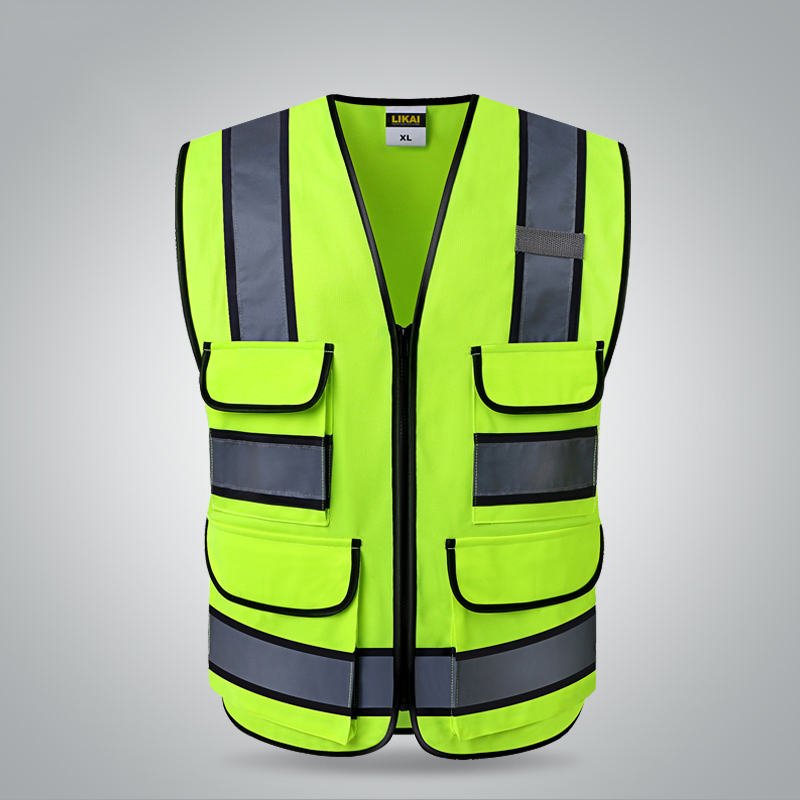 Two tone yellow Safety vests with pockets waistcoat security with reflective stripes
