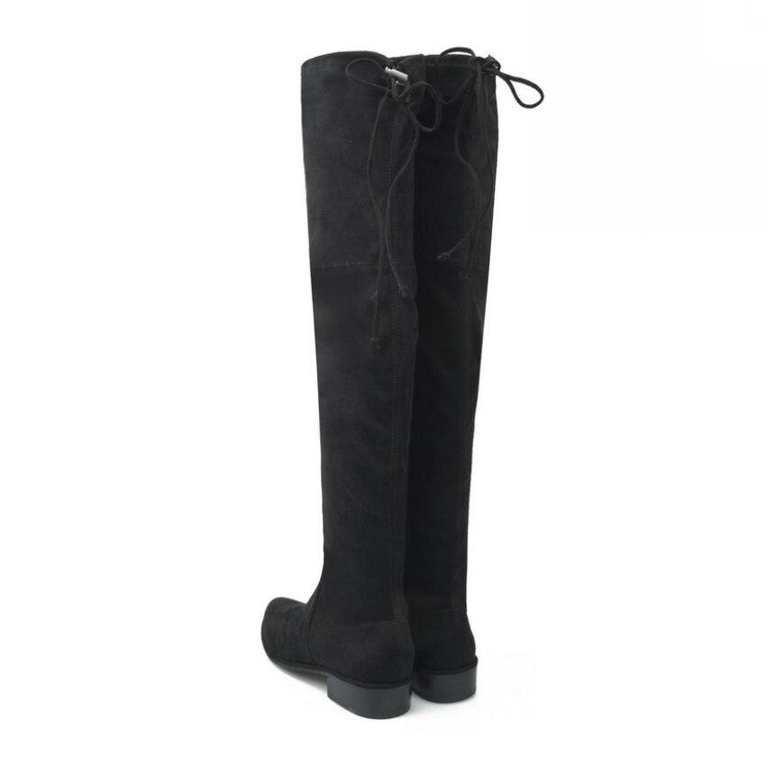 Punta 2018 35 Pie La Negro Black Dedo Zapatos Sobre Rodilla Bajo Mujer Botas Tamaño Cuadrados Del Mujeres 42 Gcx2 Matorral Señoras Tacón ZZxqUr7w