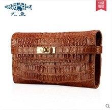 yuanyu 2017 new scorching free supply thailand crocodile leather-based female clutches girls packets crocodile grain prolonged girls purse