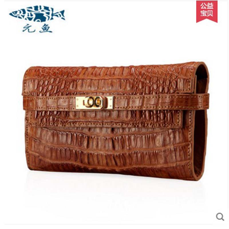 yuanyu 2018 new hot free shipping  thailand crocodile leather female clutches  women packets crocodile grain long women handbag yuanyu new crocodile wallet alligatorreal leather women bag real crocodile leather women purse women clutches