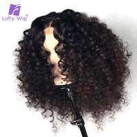 Luffy Glueless Pre Plucked Full Lace Curly Human Hair Wigs With Baby Hair Malaysian Non Remy Hair Bleached Knots for women