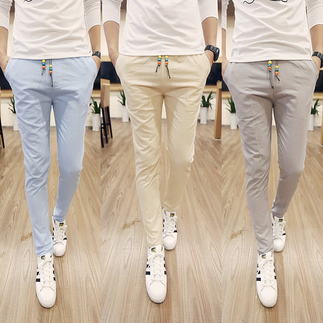 2015 Hot Sale New Stylish High Quality Men's Casual Pants Solid Color Cotton Pants Slim Mens White Trousers Free Shipping M-5XL