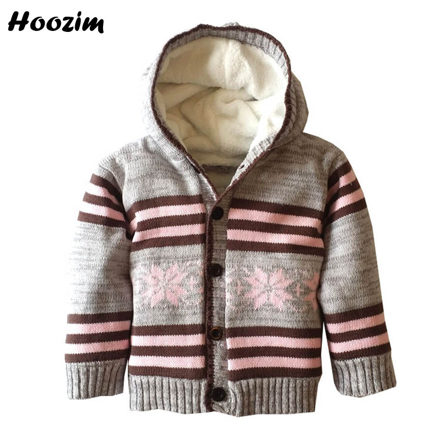 Baby Cardigan Winter Hooded Thick Warm Fleece Sweaters For Girls Pretty Girls Cardigan Autumn Plaid Knitted sweater kids boys knitted rib cuff zip up graphic cardigan