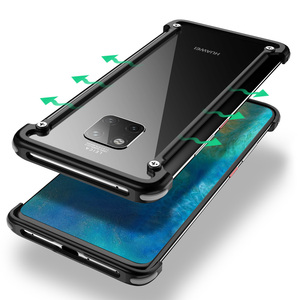 Image 2 - OATSBASF with Airbag Metal Frame shape phone Case For Huawei Mate 20 Pro 20 RS 20X 20 luxury phone bumper with back film gift