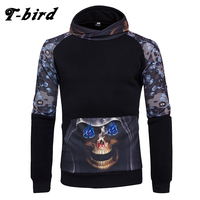 T Bird Men Hoodie Skeleton 3d Printing Hoodies Male Hip Hop Sweatshirt Pullover 2017 Brand Fashio
