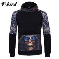 T ptak Mężczyźni Skeleton Drukowanie 3d Bluzy Z Kapturem Mężczyzna Hip Hop Bluza Pullover 2017 Fashio Zima Bawełna Sportowej Marki S XXL