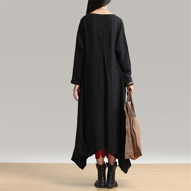 Johnature 2021 Autumn New Women Black Color Casual Dress Robe Long Sleeve V Neck Loose Brief Loose Irregular Long Dress 4
