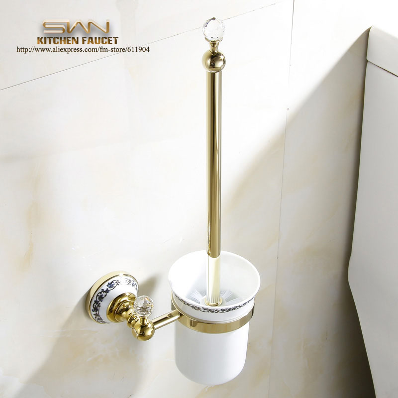 Free Shipping Luxury Golden Toilet Brush Holder with Ceramic cup household products Bath Decoration Bathroom accessories