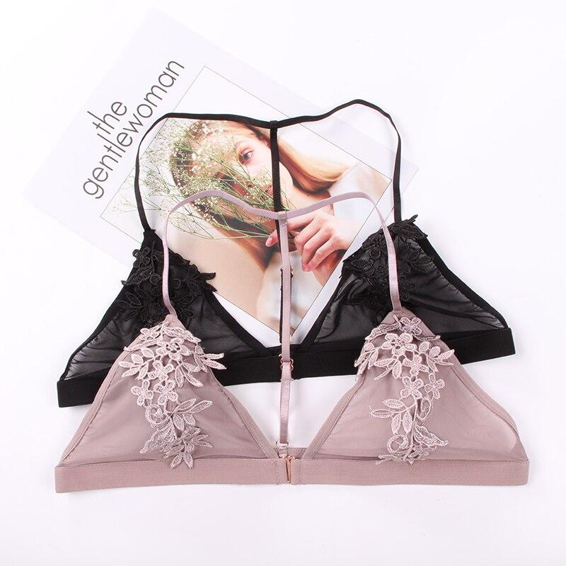 Sexy Bralette Bra Lace Brassiere Transparent Push Up Bra bralett Mesh Embroidery Lace Bra For Women Underwear Soutient Gorge