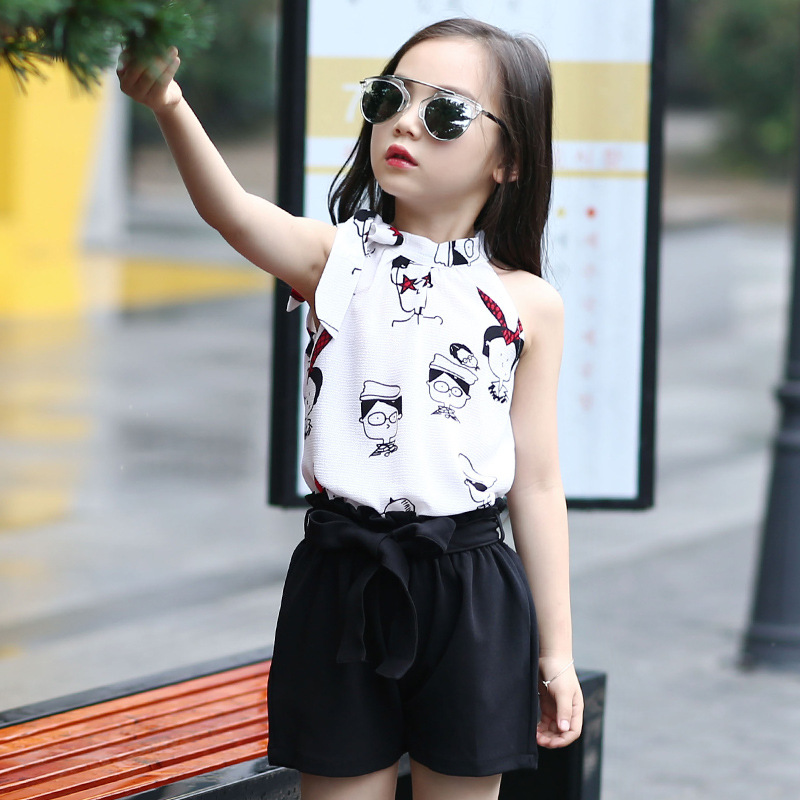 Dots Character Pattern Kids Girls Chiffon Clothing Set 2 PCS 2018 New Girls Clothes Summer Casual Blouse Top & Shorts Set Outfit все цены