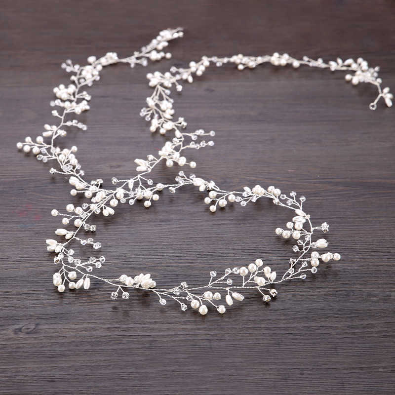 Fashion Wedding Headdress For Bride Handmade Wedding Crown Floral Pearl Crystal Hair Accessories Hairpin Ornaments