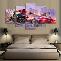 5 Piece Canvas Art Painting Video Game GTA 5 Large Wallpaper High Definition Canvas Print Oil