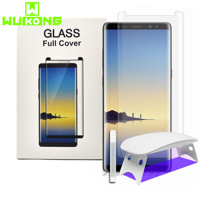 UV Full Glue Screen Protector For Samsung Note9 8 S8 S9 Plus S10Plus Note 10 Plus Tempered Glass Mate 30 Pro UV Liquid P30 Pro