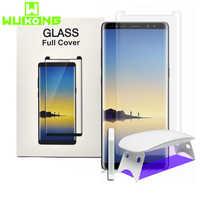 UV Volle Kleber Screen Protector Für Samsung Note9 8 S8 S9 Plus S10Plus Hinweis 10 Plus Gehärtetem Glas Mate 30 pro UV Flüssigkeit P30 pro
