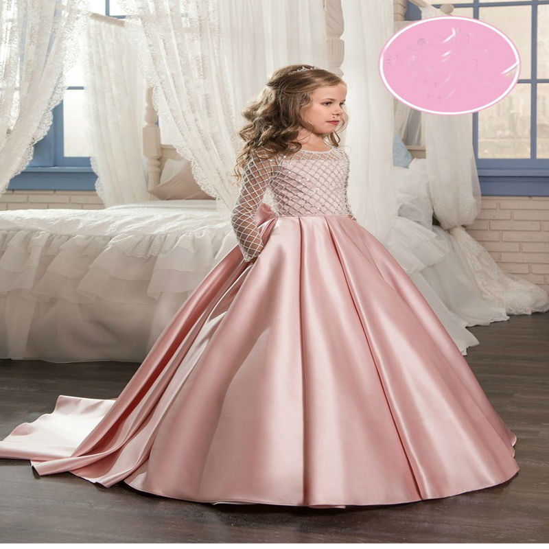 Long Sleeve Flower Girls Dresses For Wedding Mermaid Kids Prom Dresses Satin Mother Daughter ...