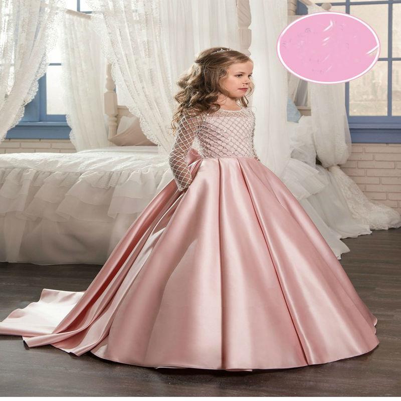 Long Sleeve Flower Girls Dresses for Wedding Mermaid Kids
