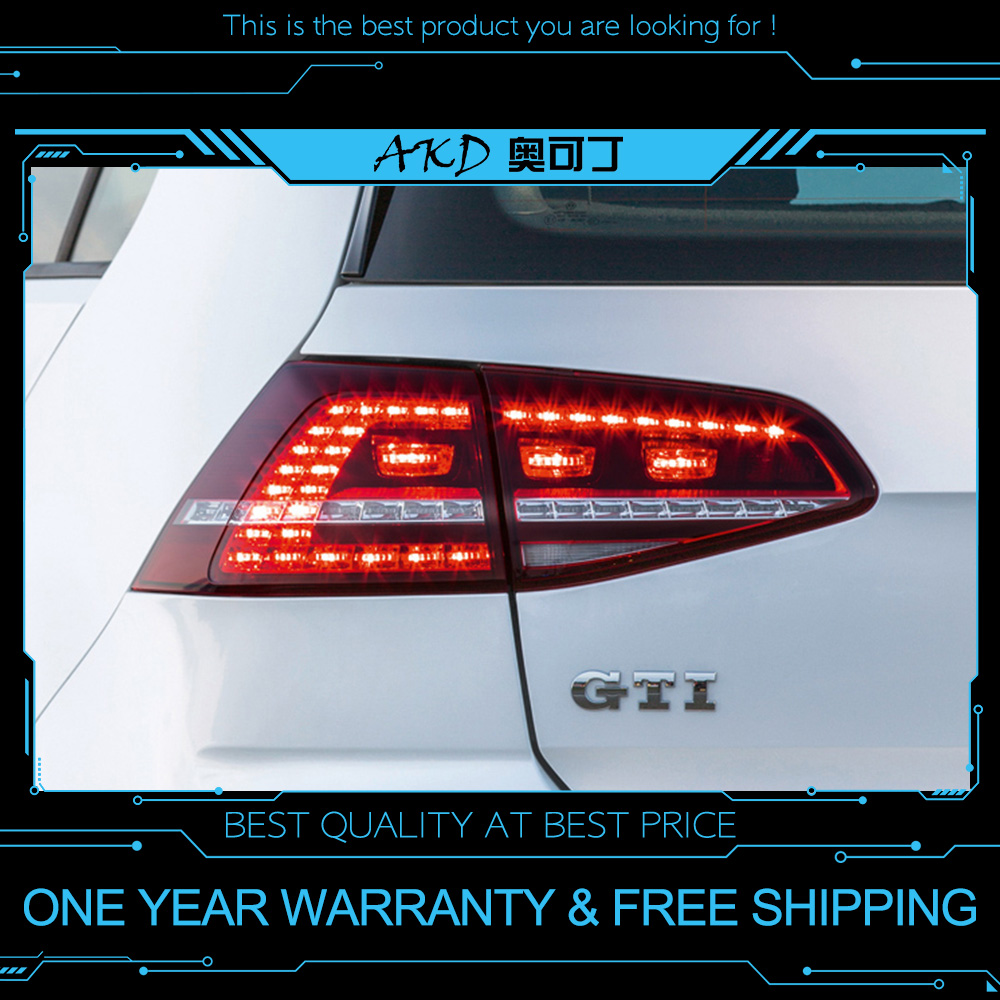 AKD tuning cars Tail lights For VW Golf 7 Golf7 MK7 R20 Taillights LED DRL Running lights Fog lights angel eyes Rear parking