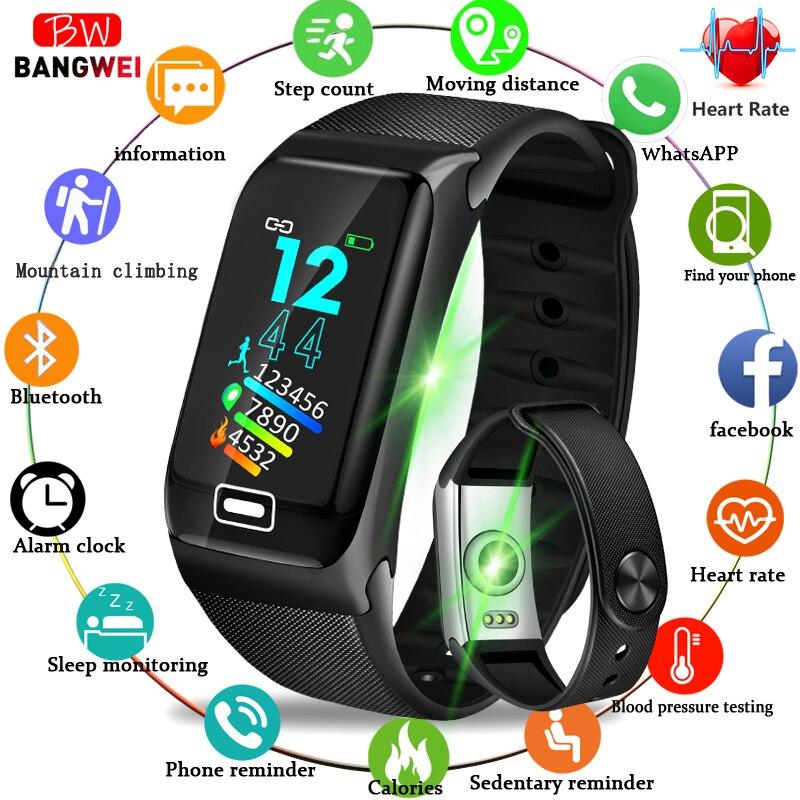 BANGWEI 2019 montre de Fitness intelligente hommes femmes IP67 étanche montre tension artérielle moniteur de fréquence cardiaque pour Android ios Sport montre