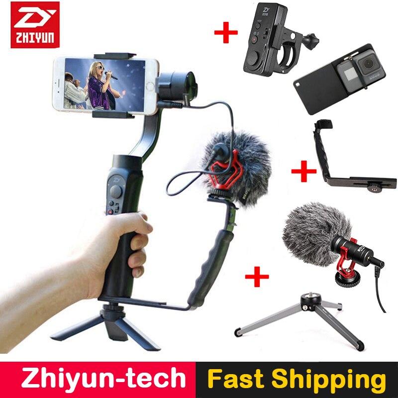 Zhiyun Suave 4 Lisa Q 3-Axis Gimbal Estabilizador w Boya BY-MM1 microfone Vlogging após atirar para o iphone X 6 Gopro SJCAM