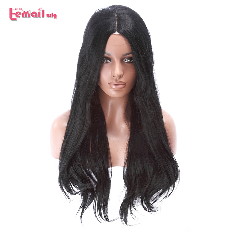 L-email wig Long Black Lace Front Wigs 70cm Synthetic Lace Front Wig Loose Wave Women Hair Heat Resistant Synthetic Hair Perucas(China)