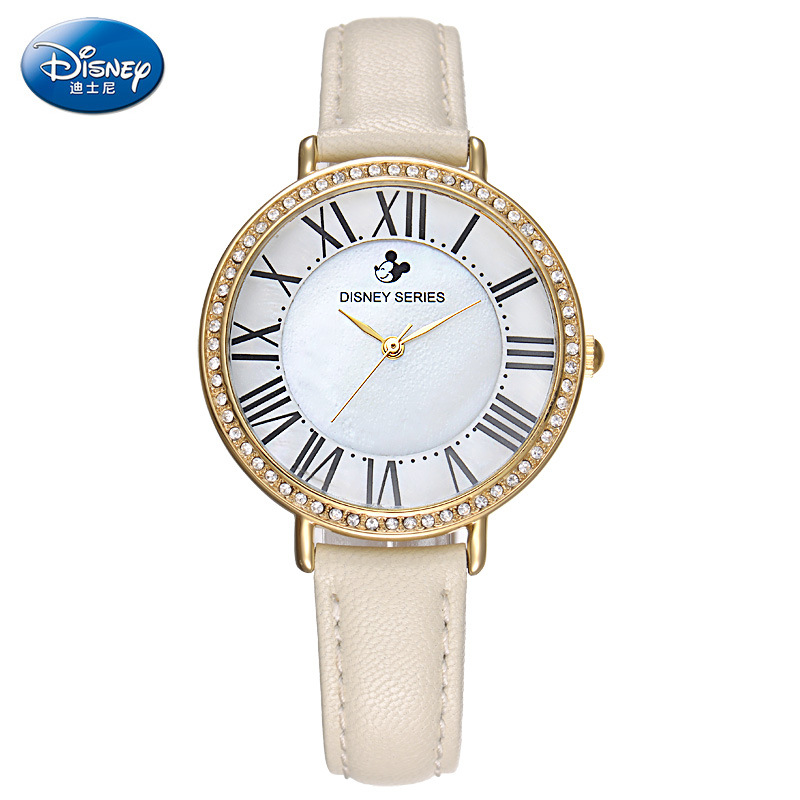 Disney brand Rome scale Genuine leather quartz watches for womens Mickey mouse luxury diamond waterproof ladies clocks original