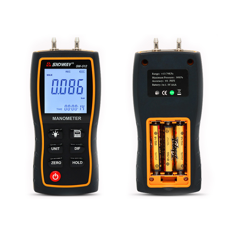 Tools : SW512 SNDWAY Digital Manometer Air Pressure Gauge Handheld Digital Differential Natural Gas Pressure Meter Measurement Dropship
