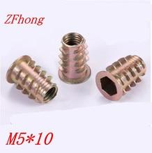 500 шт. M5 * 10 M5 x 10 мм цинковый сплав деревянные вставки гайка фланцевый Hex головка привода Мебель Орехи