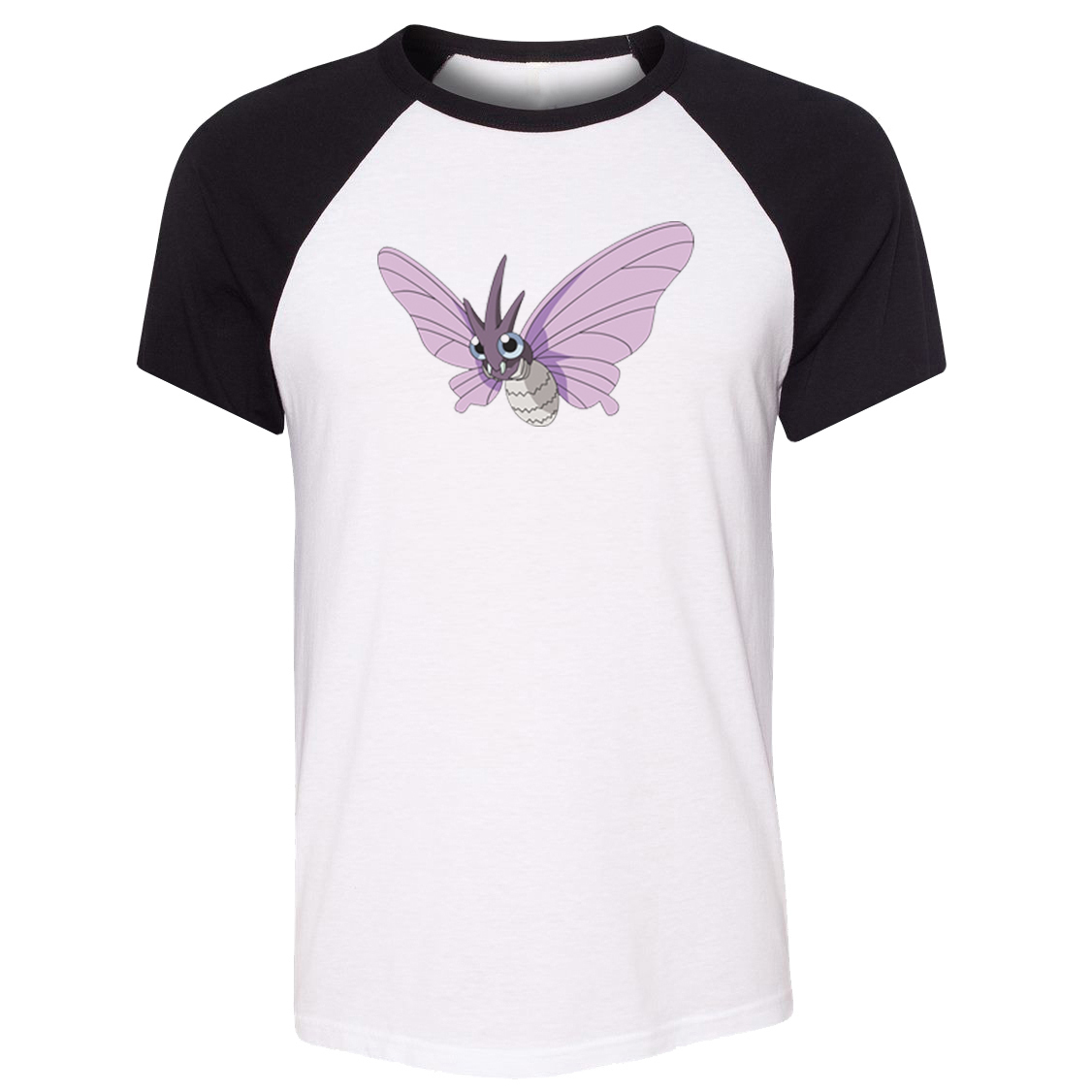 Unisex T-shirt Cartoon Poison Bug Type Pokemon National Pokedex 049 Venomoth Pattern Raglan Short Sleeve Men T shirt Tee Tops image