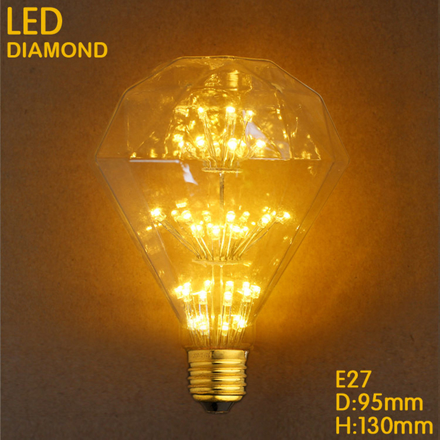 MRDENG LED Retro Filament Bulb Flat Drills Bulb G95 Globe Glass Bulb 2W E27 220V Chandelier Lamp Antique Edison lamp