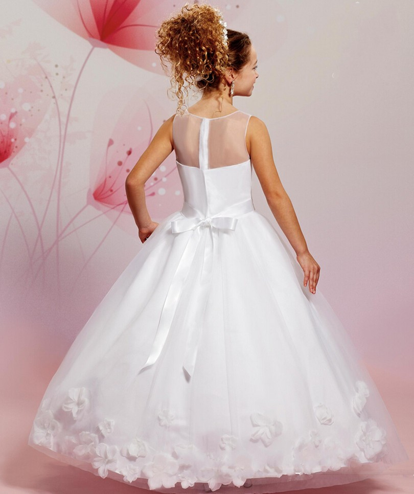 2016 New Style Flower Girl Dresses With Flower Ball Gown Communion ...