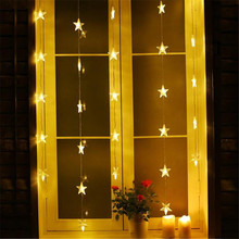 1M 220V  Fairy star led icicle curtain Outdoor Home Christmas Decorative xmas String Fairy Curtain Strip Garlands Party Lights F
